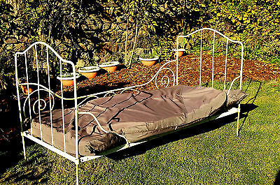 Antique French Folding Day Bed with Mattress Sturdy Metal from Old School