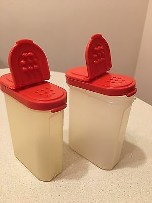 """Tupperware Modular Mates 4"""" Spice Salt Pepper Containers Set of 2 Red 1846-22"""