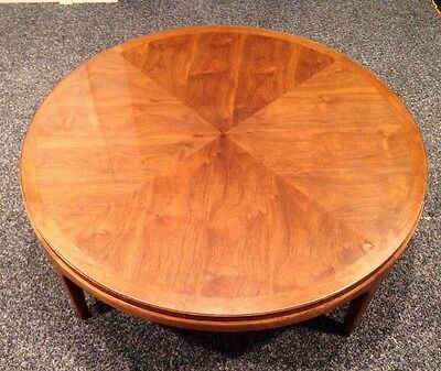 Vintage 60s Mid Century Modern Lane Rhythm Walnut Round Coffee Table Glass Top