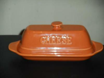 Gourmet Village Burnt Orange Covered Formage Cheese Dish~Pristine~Pretty!!