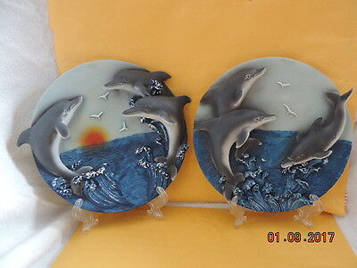 """Dolphin 3-D Plate Set-6.5""""-hang or stand-May Rich Co."""