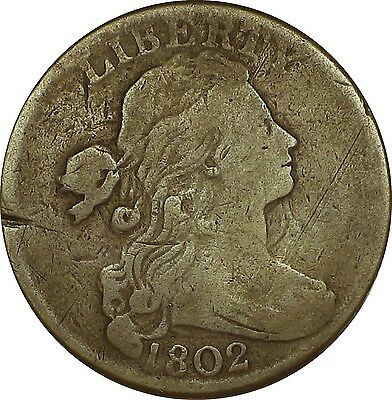 1802 Draped Bust Large Cent  *Clashed Obverse*  S-227  R2 ( #-825HO)