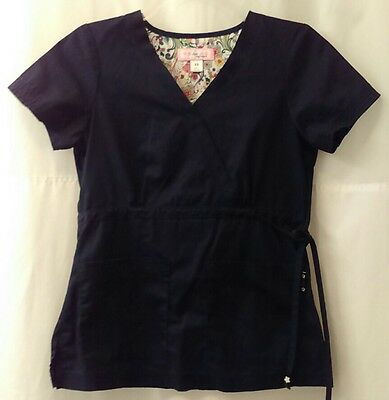 Koi Scrub Top Navy Blue Moc Wrap Women's Size XS Excellent Condition