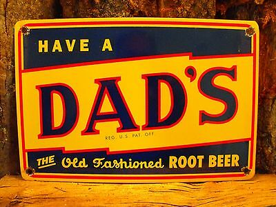 DAD'S ROOT BEER Soda Porcelain Sign Country Store Advertising Excellent Conditio