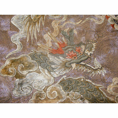 Japanese Silk Embroidery Gilt Couching Stitch Dragons 19th c. Edo-Meiji Textile