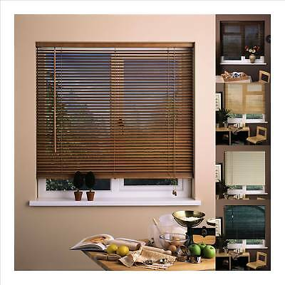Real Hard Wood Venetian Blinds 152cm drop, NEW Wooden 25mm Slats 60 to 180cm ...