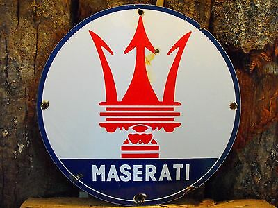 MASERATI Super Car Porcelain Dealership Advertising Sign Excellect Amazing Cond