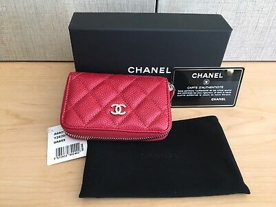 100% AUTHENTICITY GUARANTEED NWT CHANEL Red Caviar Zip Wallet Coin Card Case