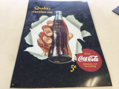 """Coca-Cola """"Quality Carries On"""" Tin Advertisement Sign"""