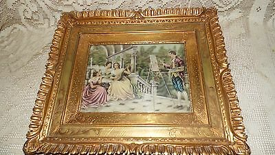 Antique Victorian Print Ornate Gold Wood Frame Man Taking Pictures Wavy Glass