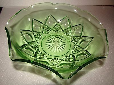 "Hazel Atlas Green Depression Glass Bowl 9"" by 3"""