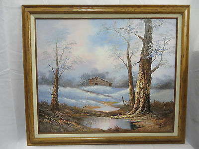 H. Gailey Framed & Matted Oil Painting - Barn Winterscape - Signed