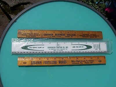 3 Advertising Rulers - Lebanon, PA - Evergreen Tractor Co./John Deere - and More
