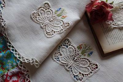 Stunning Vintage Sofa Back Tablecloth Schiffli Lace Butterflies Embroidered Cott