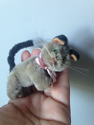 """1950's SCHUCO MINIATURE MOHAIR 3"""" TABBY CAT JOINTED GREEN EYES BLACK EARS & TAIL"""