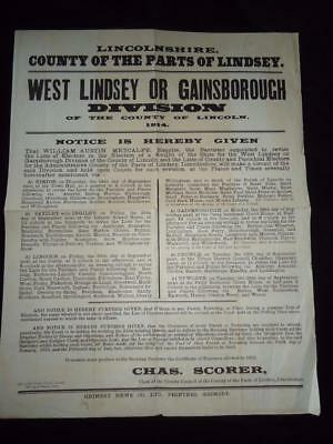 1914 electoral notice West Lindsey Gainsborough Lincolnshire local history