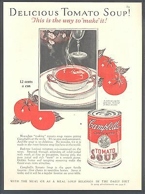 "Delicious Tomato Soup, ""the way to make it"", 1927 Campbell's Soups Magazine Ad"