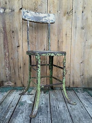 Vintage CHIC INDUSTRIAL Stool SLEEK Machine Age Shop Chair STEAMPUNK Antique