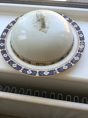 Vintage china muffin dish pretty dark blue and gold pattern on edges