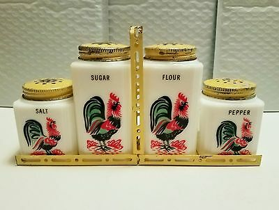 TIPP CITY 30's-40's Range Set Milk Glass Rooster Flour-Sugar-Salt-Pepper w/ Rack