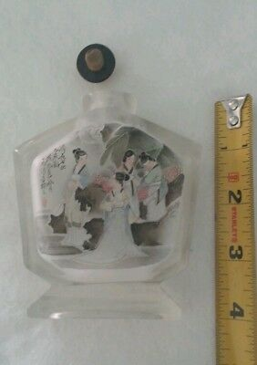 Beautiful Antique Chinese Reverse Painted Snuff Perfume Bottle Crystal