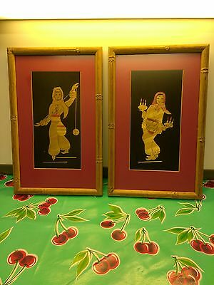 2 oriental Bamboo Inlaid Pictures Framed with Glass Fronts very old art