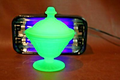 """Vintage 5"""" Tall Frosted Green Vaseline Glass Compote Dish w/ Lid"""