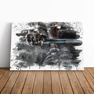 Canvas Wall Art Picture Print Body Building Fitness Weights V3