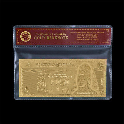 WR Guatemala 1/2 Quetzal Banknote Gold Poly Note Central America Bill In Sleeve