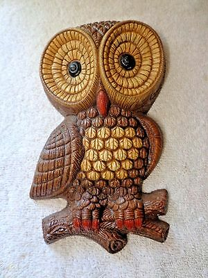 Vintage Owl Wall Plaque Hanging Decor Molded Foam Art Painted 1981