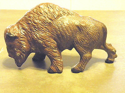 "Vintage Animal Art Buffalo Bison Figurine Numbered ""136"" Unsigned 7.5 L X 4.5 T"