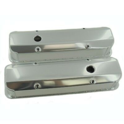 """For SBC Chevy FABRICATED ALUMINUM TALL VALVE COVERS 1/4"""" BILLET RAIL 350 383 400"""