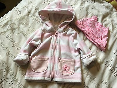 Carters Girls 3 Months  Pink Striped Hooded Jacket