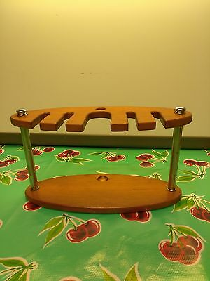 Vintage Pipe Holder wooden for 5 pipes and signed on the bottom by ???