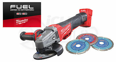 Milwaukee M18 Fuel 115mm Angle Grinder 18v M18CAG115XPDB-0 Body Only + BLADES