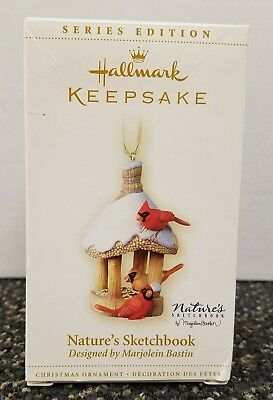 Hallmark Natures Sketchbook ornament; 4th in series, birdfeeder with cardinals