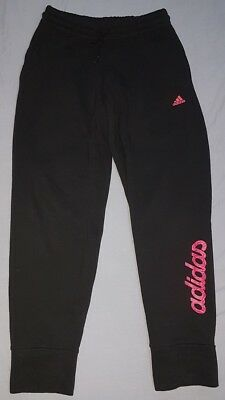 Girls ADIDAS Black Fleece Joggers Jogging Bottoms Age 9-10 Years
