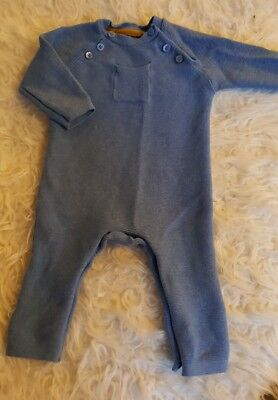 M&S premium knitted blue romper babygrow grow body suit boys 0-3 months