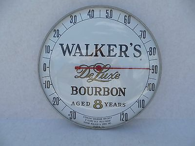 Vintage Hiram Walkers Deluxe Bourbon Whiskey Glass Advertising Thermometer Nice
