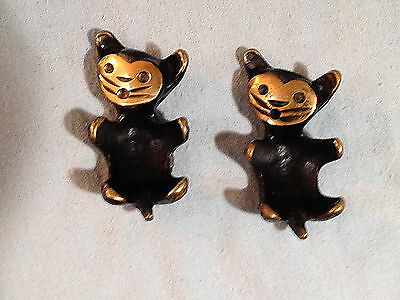Vintage Handmade In Austria Brass Cats Set Of 2 Each