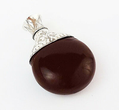 Fine SILVER MOUNTED Tagua Nut SCENT BOTTLE 19th Century