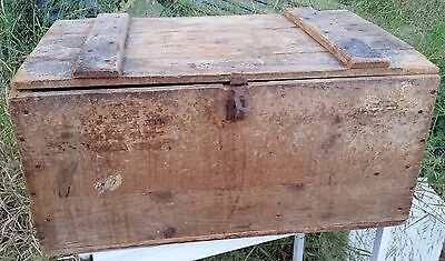 Antique Chest. Odd, crate style with strange hinges. Rope handles.