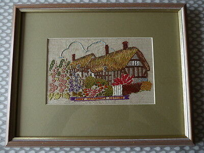 Vintage Hand Embroidered Picture- Anne Hathaway's Cottage- Beautiful Embroidery