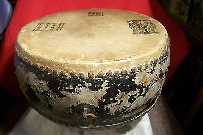 Antique Chinese Leather And Wood Hand Made Drum,  L-B800