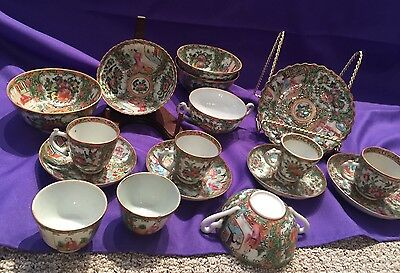 LOT OF 19 Chinese Export Rose Medallion Pieces Bowls Dishes Cups Saucers Tea