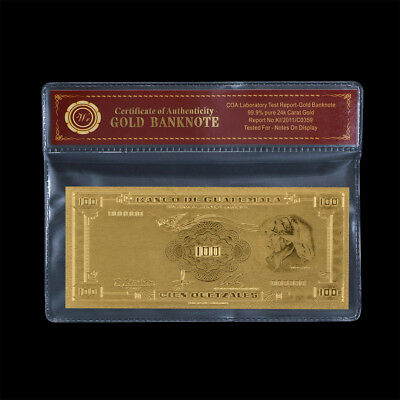 WR Gold Guatemala 100 Quetzales Banknote World Money Collector Gift In Sleeve