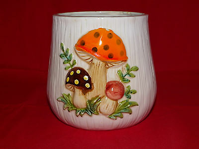 """Vintage Merry Mushroom Ceramic Textured 5"""" Canister Replacement Crafts Sears DIY"""