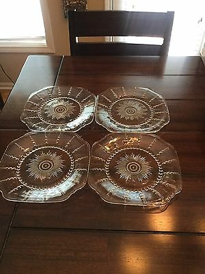 Set Of 4 Federal Clear Depression Glass Columbia Luncheon Plates 9-1/2""