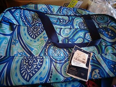 "Pottery Barn teen Jet Set duffle paisley power  monogrammed ""alex"" blue New"