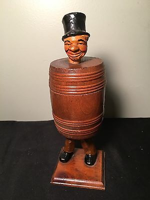Vintage Wooden Toothpick Holder, Man In A Barrel, Americana